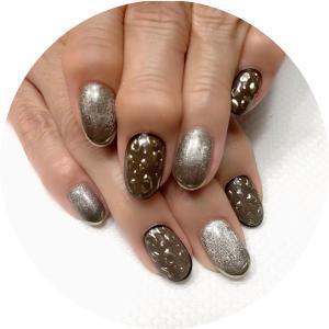 長月の爪化粧☆9月のネイルはゴールドレオパードとシアーなブラックグリッターでダニエラリングネイル