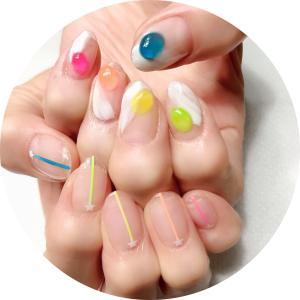 水無月の爪化粧☆6月のネイルはカラフルクリアなガラス細工風アシンメトリーネイル