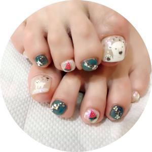 水無月の爪化粧(2)☆6月のフットネイルは涼しい白くまネイル(フラッシュネイルのおまけも)