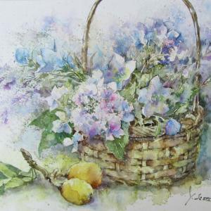 紫陽花と桔梗の花篭
