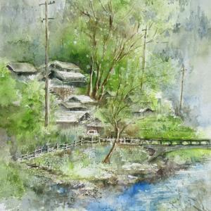 「四国山中梅雨入りの頃」を縦構図で