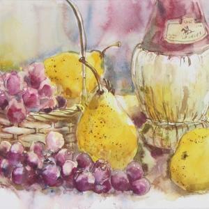 葡萄と洋梨をパッパと描く