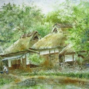 ふるさと村の茅葺き屋根