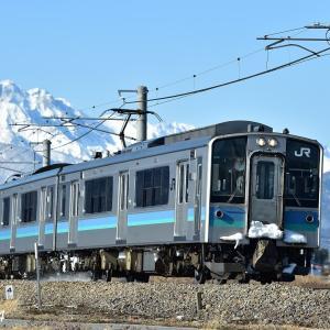 アルプスとE127系普通電車
