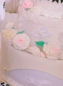 バースデーケーキ(布製)、山形トースト、精巧折り紙&ツワブキ️