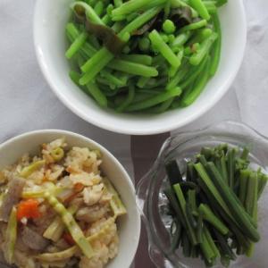 ネマガリダケの季節!タケノコご飯・ミズ・ワラビのおひたしと山菜尽くしメニュー