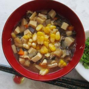 嶽きみの新レシピ♪冷やし「けの汁」トッピング、甘い嶽きみが味噌と合う