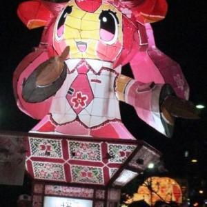 桜ミク前燈籠と知事賞の茂森新町ねぷた同好会!怖い鏡絵の『がほんず』