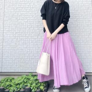 家でもプチプラカラースカートで気分を上げる
