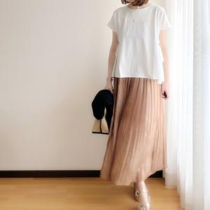上品な光沢のスカート/キレイめでカジュアルに着れるワンピース