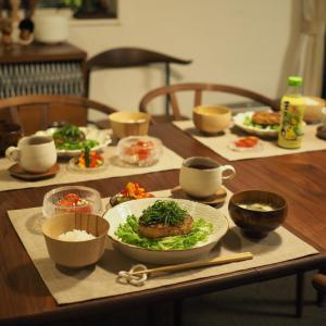 さっぱり和風ハンバーグの晩ごはん。