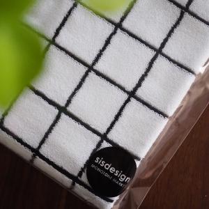 グラフチェックのタオル、洗面所にピッタリ。