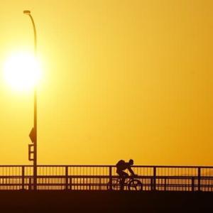 神崎川の夕日&かき氷