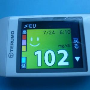 7/24 今朝の血糖値です。