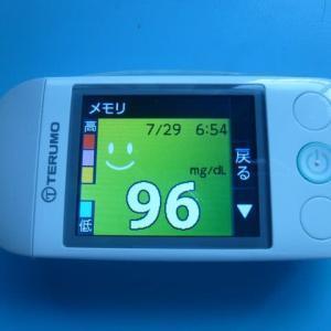 7/29 今朝の血糖値です。