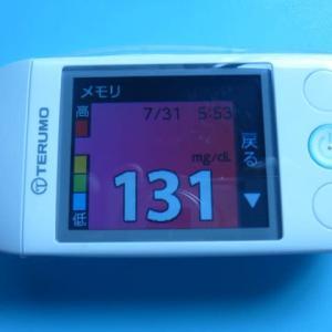 7/31 今朝の血糖値です。夏2020