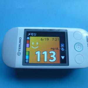 6/19 今朝の血糖値です。検査結果。