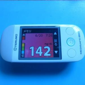 6/21 今朝の血糖値です。暑い。