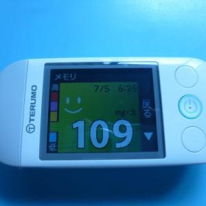 7/5 今朝の血糖値です。土石流。