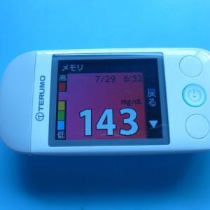 7/29 今朝の血糖値です。テルモ。