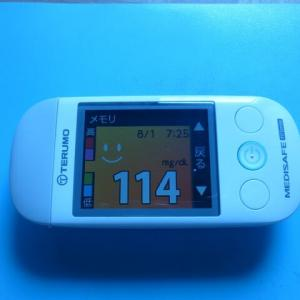 8/2 今朝の血糖値です。暑い。