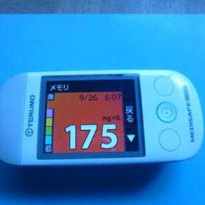 9/26 今朝の血糖値です。疲れた