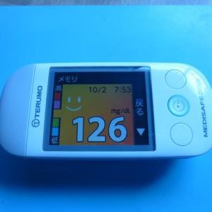10/2 今朝の血糖値です。お好み焼き。