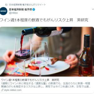 8/5 ワイン週1本程度の飲酒でもがんリスク上昇 英研究