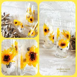 ひまわり&あじさいの、素敵なガラス作品