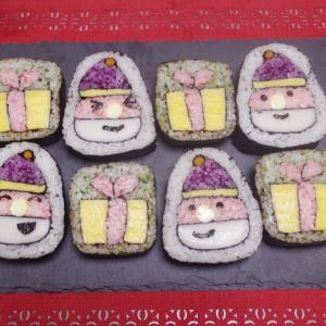今年のクリスマス飾り巻き寿司