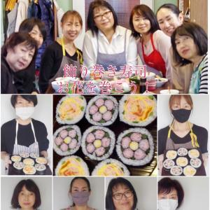 【初挑戦で巻けたお花のお寿司】
