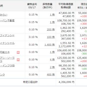 【楽天証券】株式・REIT・インフラファンドの保有ポートフォリオ(2021年9月17日終値)
