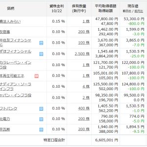 【楽天証券】株式・REIT・インフラファンドの保有ポートフォリオ(2021年10月22日終値)
