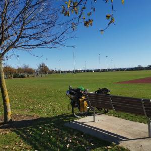 公園のベンチに座ってブログを書いた。