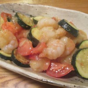【旨魚料理】海老とズッキーニのトマト炒め