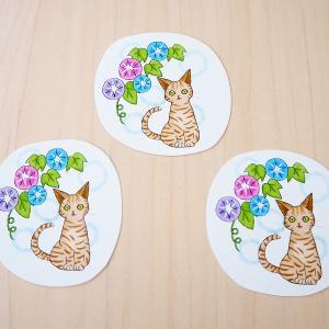 7月のカードは朝顔と猫