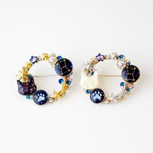 【新作】猫と星と肉球のブローチ