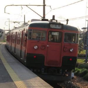 身延線115系 桜咲き乱れる小さな駅にて 1996-04-06