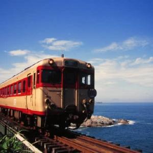 山陰本線キハ58系 断崖に架かる第一青浦橋梁 1997-08-17