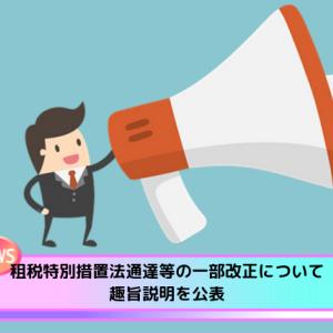 租税特別措置法通達等の一部改正について趣旨説明を公表【国税庁】