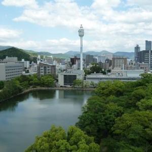 7月株・売買結果  「広島城・天守閣から官庁街を望む」