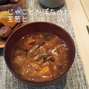 ジャコと玉ねぎ、かぼちゃのお味噌汁☆犬の塩分☆
