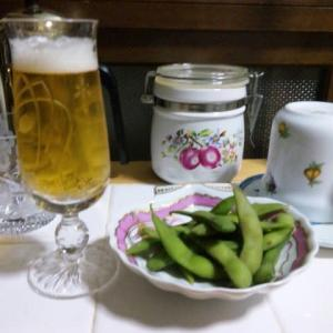風呂上がり枝豆にビール