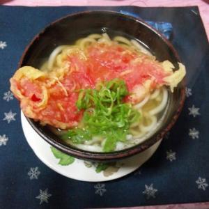 朝食「紅生姜天ぷら、力うどん」