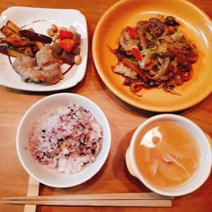 12月2日の晩ごはん 牛肉野菜炒め
