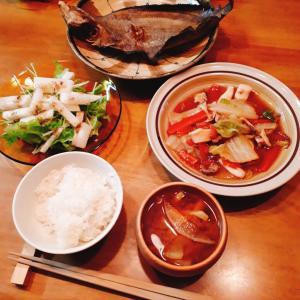 かれいの干物と白菜うま煮
