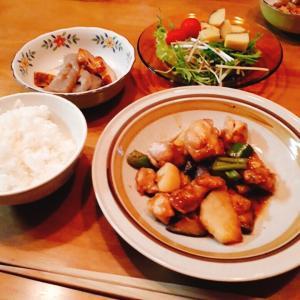 鶏肉茄子長芋の甘酢