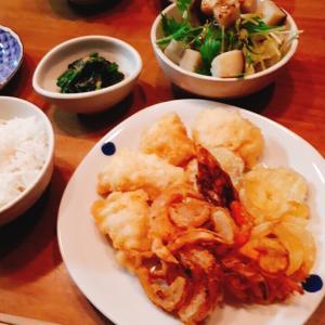 鱧の天ぷらと玉葱かき揚げ