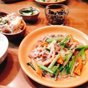 豚肉小松菜炒めとポテトサラダ