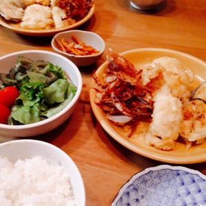鱧と茄子の天ぷらと玉葱のかき揚げ